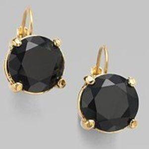 Kate Spade ♠️ Black gumdrop Leaver Back Earrings
